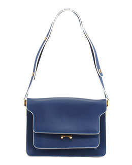 Marni Flap Top Triple-Gusset Shoulder Bag, Navy