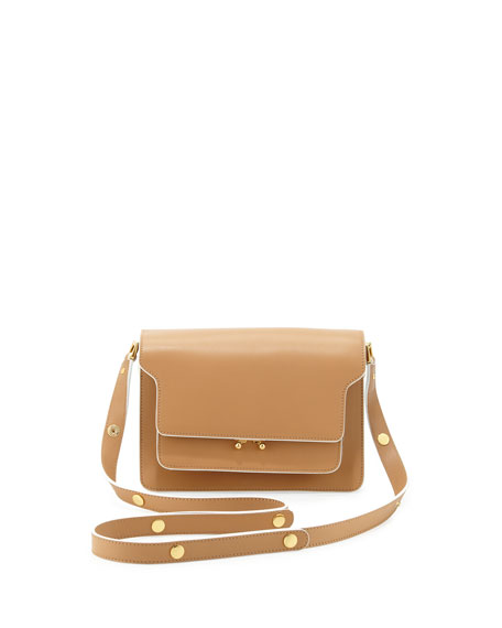 Flap Top Triple-Gusset Shoulder Bag, Camel