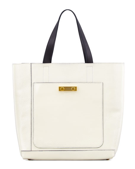 Glossy Leather Tote Bag, Camel