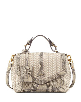 Tory Burch 797 Medium Raffia & Snake-Print Satchel Bag, Natural