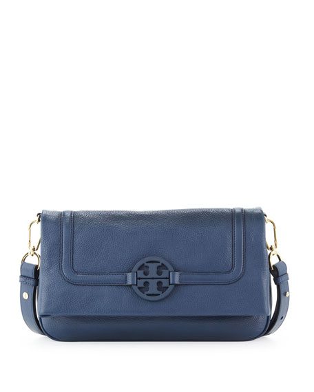 Amanda Fold-Over Messenger Bag, Navy