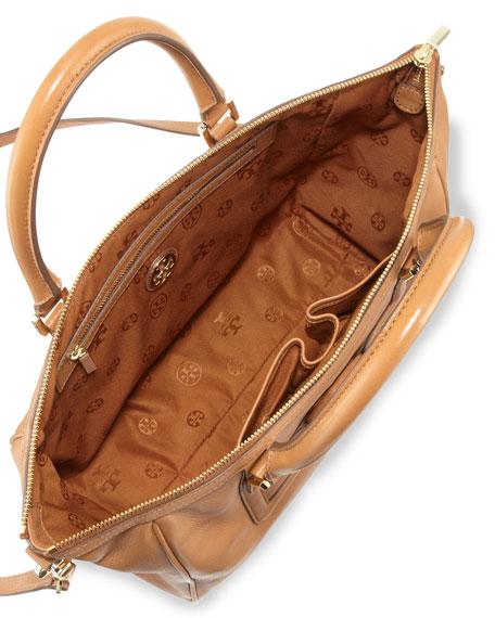 Amanda Zip Top Leather Tote Bag Tan