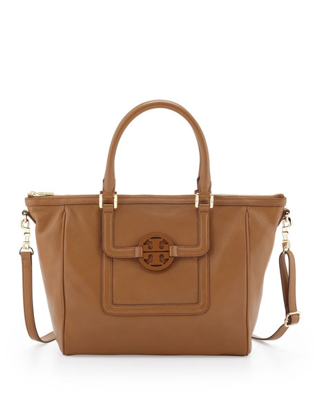 Amanda Zip-Top Leather Tote Bag, Tan