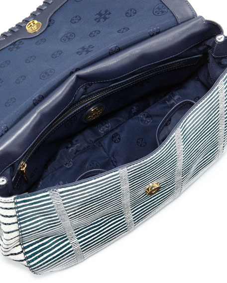 Marion Snake-Print Leather Saddle Bag, Blue/White