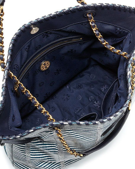 Marion Snake-Print Slouchy Tote Bag, Blue/White