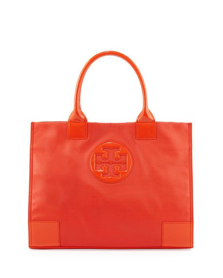 Ella Coated Canvas Tote Bag, Red Orange