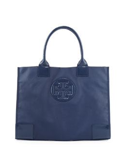 Tory Burch Ella Coated Canvas Tote Bag, Navy