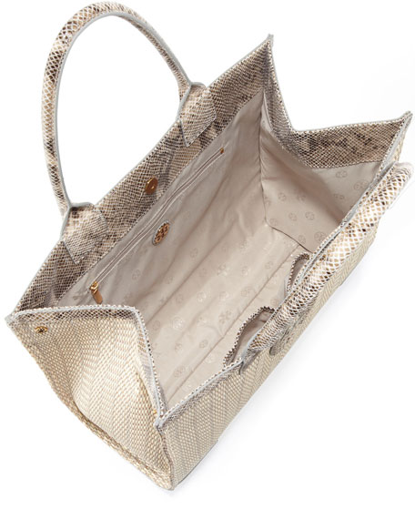 Ella Snake-Print-Trim Tote Bag, Natural