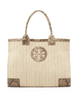 Tory Burch Ella Snake-Print-Trim Tote Bag, Natural