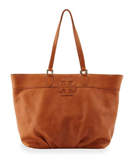 Tory Burch East-West Stacked Logo Tote Bag, Tan