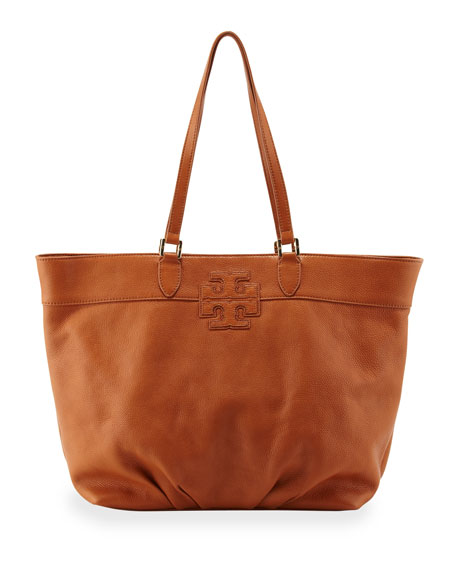 East-West Stacked Logo Tote Bag, Tan