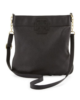 Tory Burch Stacked-T Leather Book Bag, Black