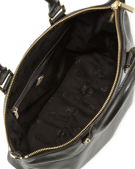 Stacked-T Leather Satchel Bag, Black