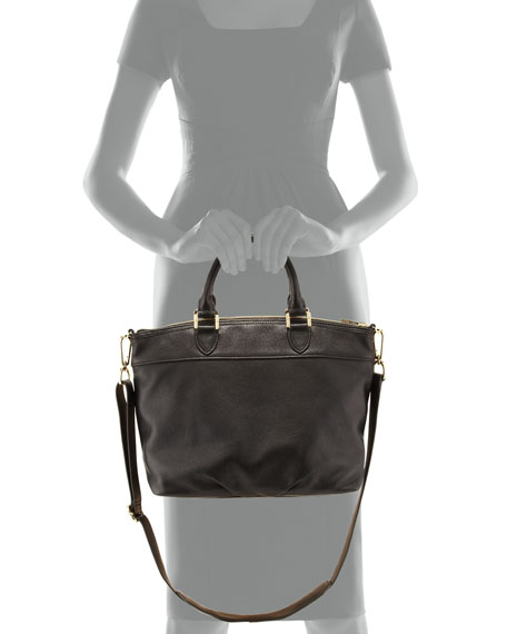 Stacked-T Leather Satchel Bag, Black