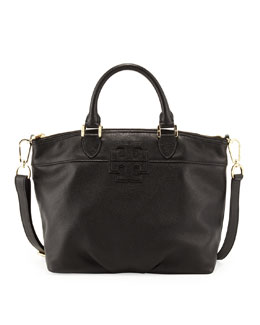 Tory Burch Small Stacked-T Leather Satchel Bag, Black