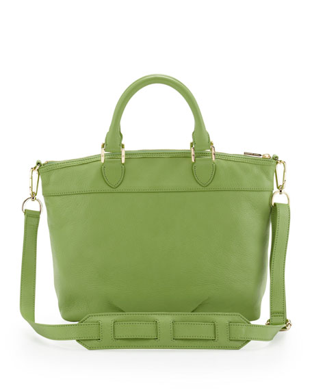 Stacked-T Leather Satchel Bag, Green