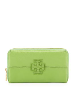 Tory Burch Stacked Continental Zip Wallet, Green