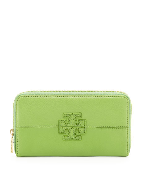 Stacked Continental Zip Wallet, Green