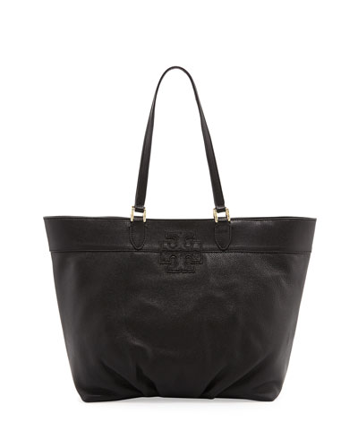 Tory Burch East-West Stacked-T Tote Bag, Black