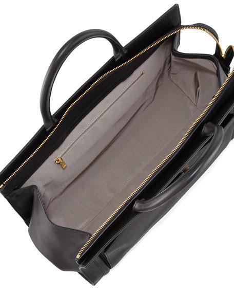 Daphne 2 East/West Leather Tote Bag, Black