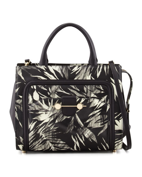 Daphne 2 Tropical-Print Tote Bag, Black/White
