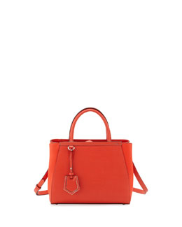Fendi 2Jours Saffiano Mini Tote Bag, Red Orange