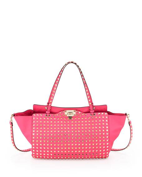 Rockstud All Over Medium Tote Bag, Pink
