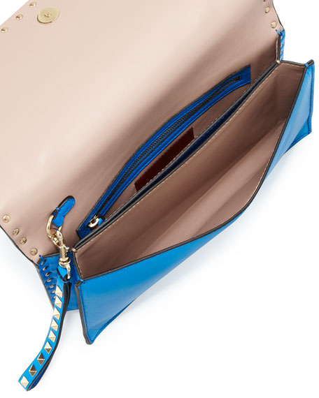 Rockstud Flap Clutch, Blue