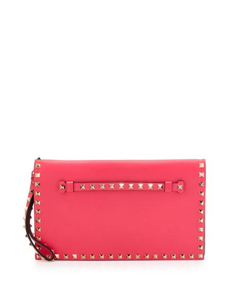 Valentino Rockstud Flap Clutch, Pink