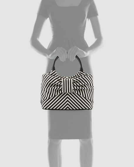 Sutton Seaside Stripe Tote, Black/Cream