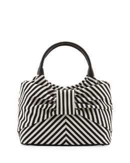 kate spade new york Sutton Seaside Stripe Tote, Black/Cream