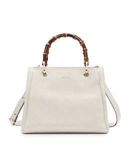 Gucci Bamboo Shopper Leather Tote Bag, Mystic White