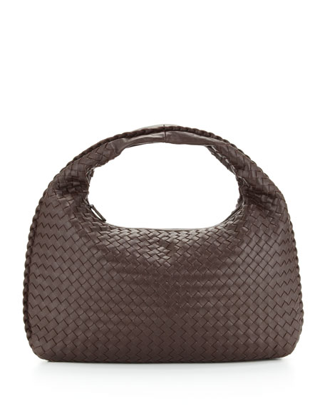 Bottega Veneta Veneta Intrecciato Medium Hobo Bag, Dark Brown