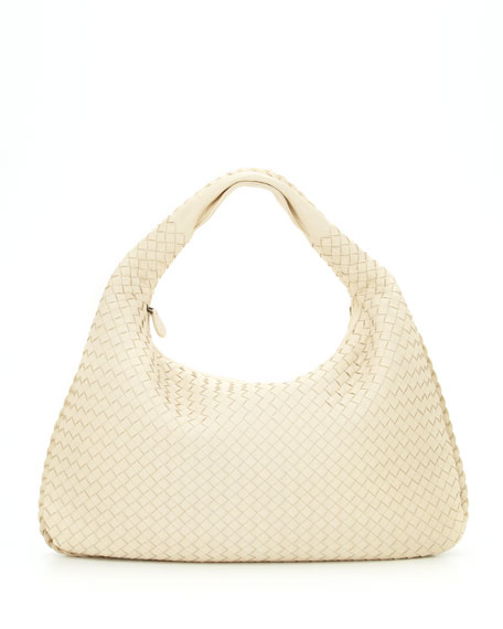 Intrecciato Woven Large Hobo Bag, Pearl