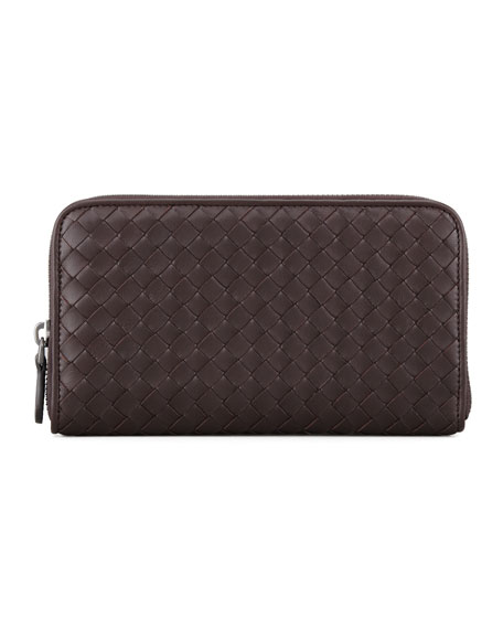 Bottega VenetaContinental Zip-Around Wallet, Dark Brown