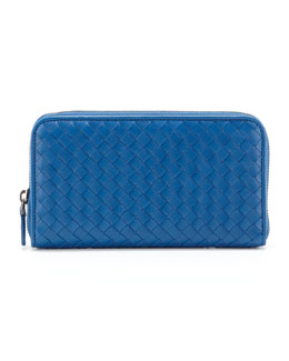 Bottega Veneta Continental Zip-Around Wallet, Blue