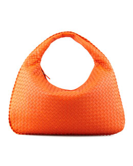 Bottega Veneta Intrecciato Woven Large Hobo Bag, Tangerine