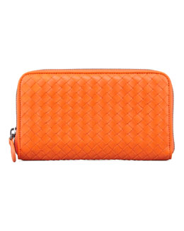 Bottega Veneta Continental Zip-Around Wallet, Tangerine