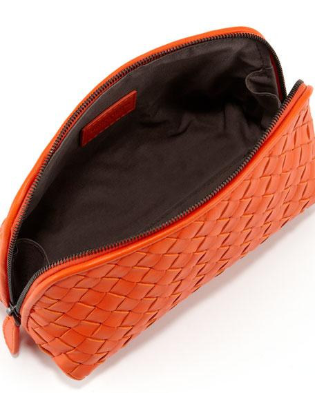 Intrecciato  Medium Cosmetic Bag, Tangerine