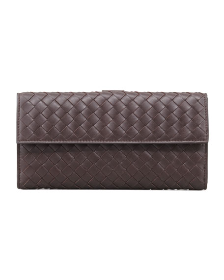 Woven Continental Flap-Tab Wallet, Dark Brown