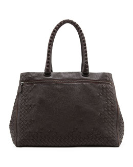 Bottega Veneta Cervo Medium Woven Frame Tote Bag, Espresso