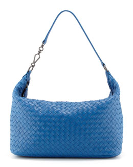 Bottega Veneta Woven Leather Medium Shoulder Bag, Blue