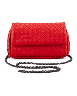 Bottega Veneta Woven Mini Crossbody Bag, Red