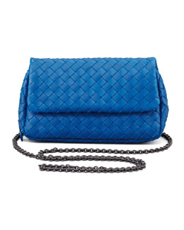 Bottega Veneta Woven Mini Crossbody Bag, Blue