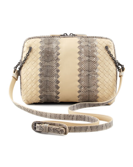 Snake & Napa Leather Crossbody Bag, Cream