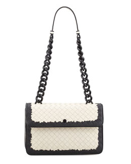 Bottega Veneta Glass Small Flap Shoulder Bag, White/Black