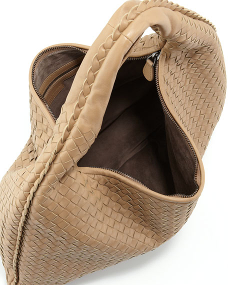 Intrecciato Woven Hobo Bag, Walnut