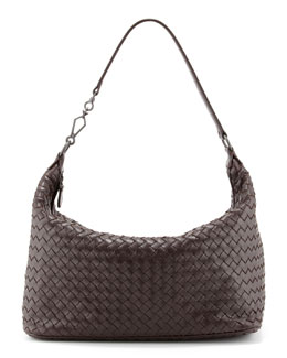 Bottega Veneta Woven Leather Medium Shoulder Bag, Dark Brown