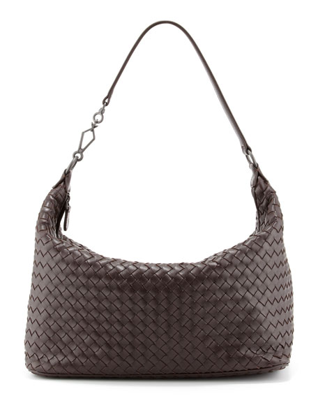 Bottega Veneta Woven Leather Shoulder Bag, Dark Brown