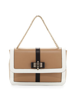 Christian Louboutin Sweet Charity Large Shoulder Bag, Beige/White